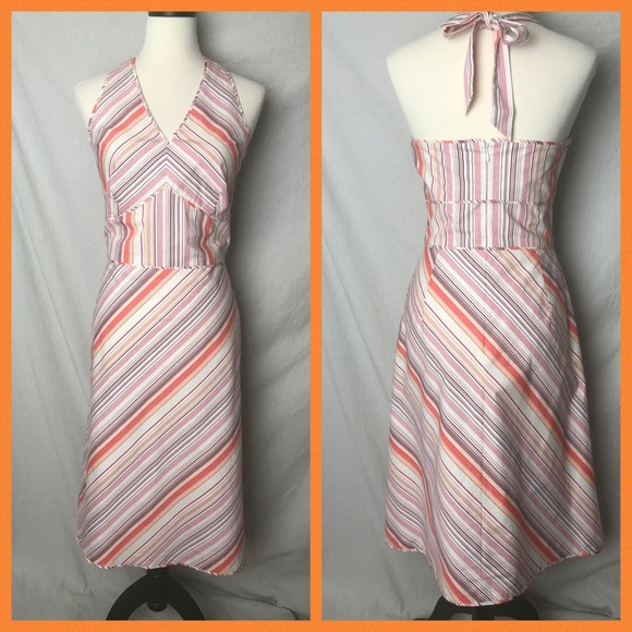 Ann Taylor Dresses & Skirts - Ann Taylor Sz10  Stripe Lined A-Lined Halter Dress